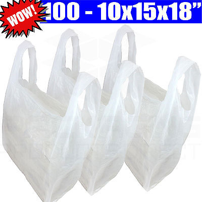 """Plastic White Vest Carrier Bags For Shops/Stalls/Takeaways 10x15x18"""""""