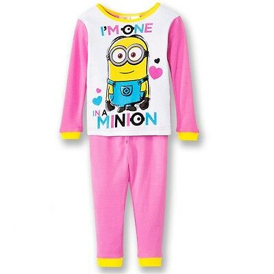 MINION Girls PINK Minions Pyjama Set Pyjamas PJs Nightwear NEW Size 2 3 4 5 6 7