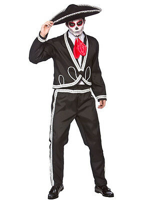 Mens Deluxe Day Of The Dead Mariachi Costume & Sombrero Adult Mexican Festival