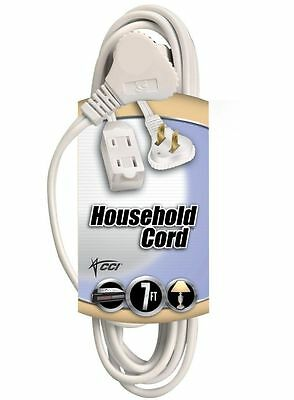 Coleman Cable 09417 2 Pack 16/2 7ft. Slimline Household Extension Cord, White