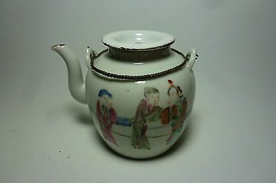 Chinese 19thC Porcelain Teapot Tongzhi Mark Figures Metal Handle Ribbed Shape