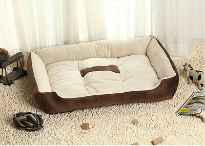 Extra Soft Paw Print Warm Comfy Fabric Dog Cat Pet Bed Puppy Washable