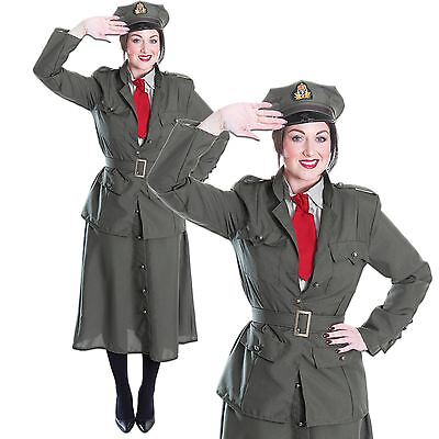 Ladies Womens WW2 World War 40s Army Officer Soldier Uniform Fancy Dress Costume