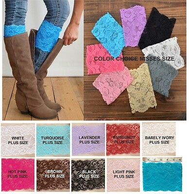 Lace BOOT CUFF Leg Warmer Topper *Grace* Misses & Plus Size USA Seller FREE SHIP