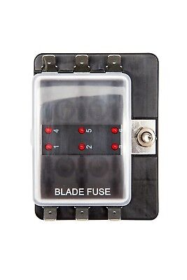 6 way blade fuse box 1 power in led indicator for blown fuse car rh picclick co uk