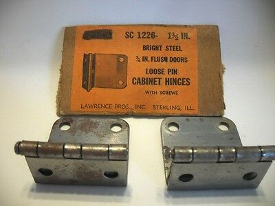 "Vintage NOS Steel Loose Pin Cabinet Hinges 3/4"" For Flush Doors Lawrence Bros."