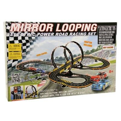 Golden Bright Mirror Looping Electric Power Road Racing Slot Car Set 6618