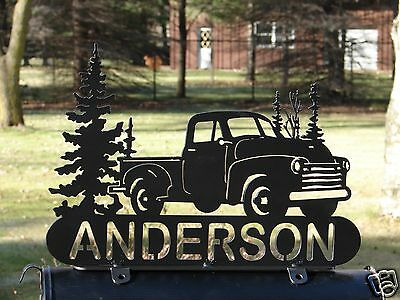 Vintage Pick Up Truck MAILBOX TOPPER Address Plaque Personalized GM Chevrolet