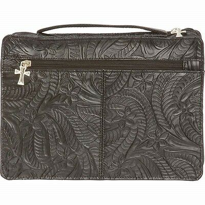New Black Tooled Solid Genuine LEATHER BIBLE COVER Pocket Book Case Cross Zipper