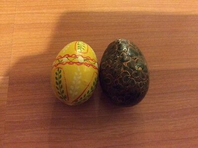 VINTAGE COLLECTIBLE PAINTED EGGS SET OF TWO