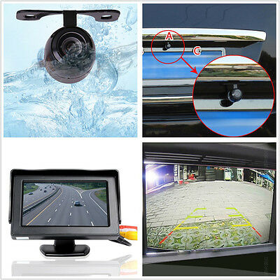"Car SUV Rearview Reverse Backup 170° Wide Angle Camera +4.3"" LCD Display Monitor"