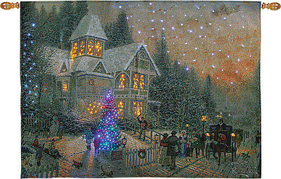 Victorian Christmas Fiber Optic Tapestry Wall Hanging ~ Thomas Kinkade