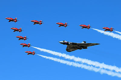 Vulcan Avro RAF With Red Arrows Blue Sky WALL ART CANVAS FRAMED OR POSTER PRINT