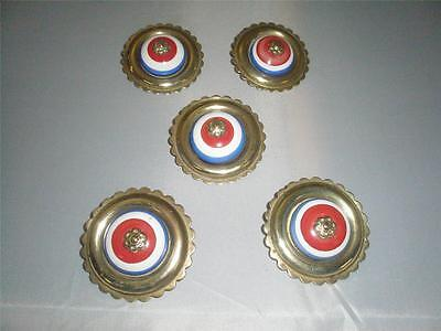 Stunning Set Of 5 Victorian Solid Brass Porcelain Horse Brass Rosettes.
