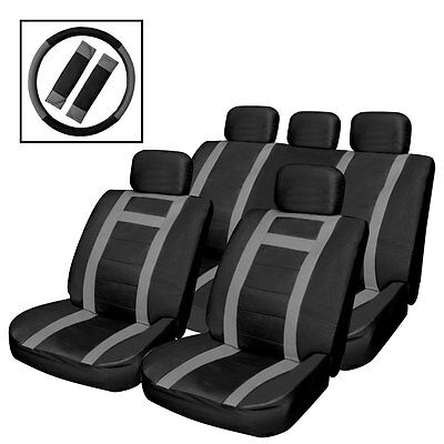 14Pc Black/grey Heavy Duty Faux  Leather Car Seat Covers Set Air Bag Friendly