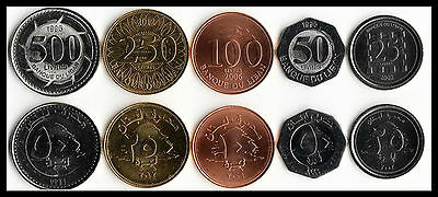 Lebanon  5 COINS SET WORLD COINS LOT 25 50 100 250 500 LIVRES NEW UNC