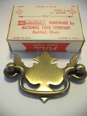 Vtg NOS Dresser Drawer Drop Bail Pulls Antique Brass Plated Steel Period Trim