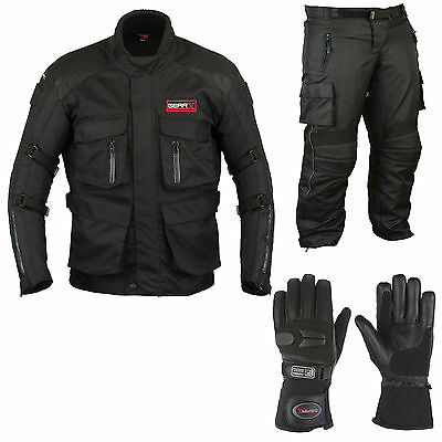 Motorbike Protective Suit Motorcycle Waterproof Jacket Trousers Leather Gloves