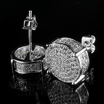 18K White Gold ICED OUT AAA Lab Diamond Micropave Round Stud Hip Hop Earring 12S