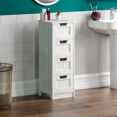 Bathroom 4 Drawer Cabinet Storage Cupboard Wooden White Unit By Home Discount
