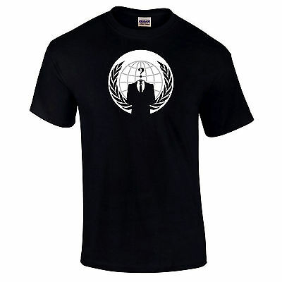 Anonymous Emblem Logo T-Shirt  Anti Government V For Vendetta Revolution S-5XL