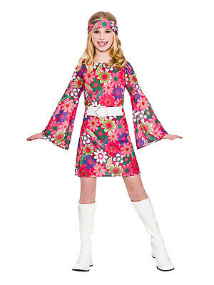 Child 60s 70s Flower Power Groovy Retro GoGo Hippy Girls Fancy Dress Costume Kid