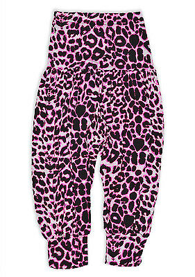 Girls Harem Trousers Pink Animal Print Casual Ali Baba Pants New Age 2-14 Years