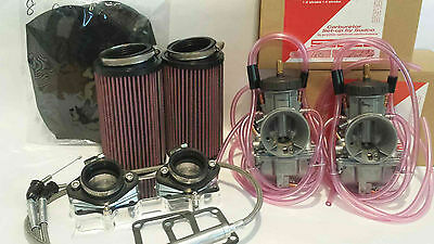 Banshee 350 35mm 35 Keihin PWK Dual Carb Carbs Kit Complete Intake Filters Boots