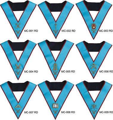 Masonic Aasr Scottish Rite Officer Collars Set Of 9 Hand Embroidered Offclrs-9Rd