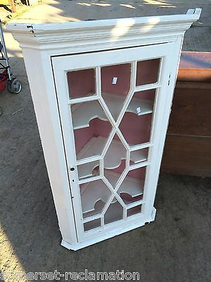 Reclaimed Victorian Glazed Tall Painted Corner Cupboard Cabinet
