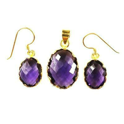 18K Gold Overlay Earring & Pendant Set With Amethyst-STG-104-AM