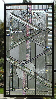 Stained Glass Window Hanging Abstract 33 1/8 X 17 3/4""