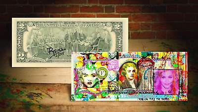 MADONNA WORLD Rency / Banksy Pop Art on Real $2 Bill Artist Signed #/215