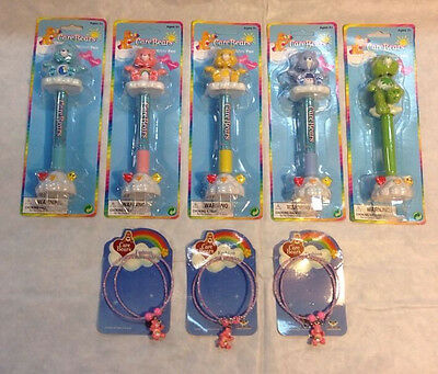 3 Care Bears Wobble Pens and 3 Bracelets NEW