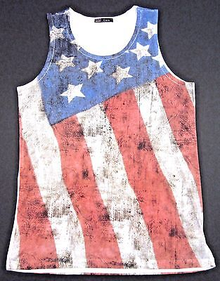 267d1618aaa87 OLD GLORY TANK Top Vintage USA US Flag Stars Stripes Adult Men Small ...