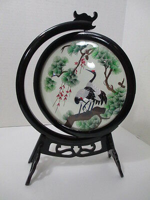 Embroidered Silk Crane Picture in Frame Lacquer Spinning Frame in Base Asian Art