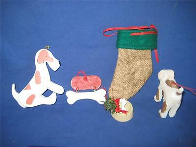 5 NEW  DOGGIE CHRISTMAS TREE ORNAMENTS - LOT #1