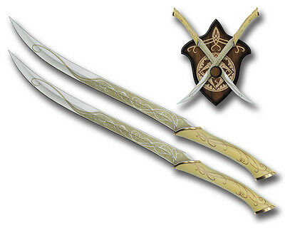 TWIN Lord of the rings Legolas Elf Fighting Knife Swords With Plaque
