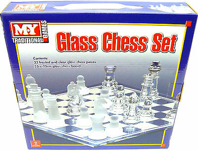 Glass Chess Set Traditional Chess Board Game Glass Frosted 32 Pieces 25 x25cm