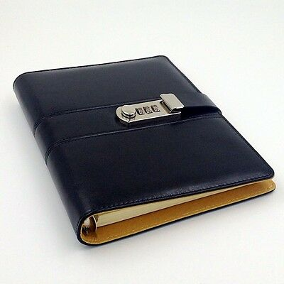 A5 Code Password Lock Leather Cover Blank Diary Book, Secret Notebook