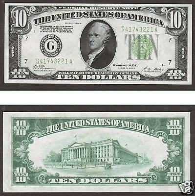 US FR 2002G choice unc. $10.00 Federal Reserve Banknote w/ Printer's Mark