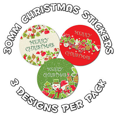 48 x 30mm Stickers - Merry Christmas, for gifts, envelopes, teachers, crafts