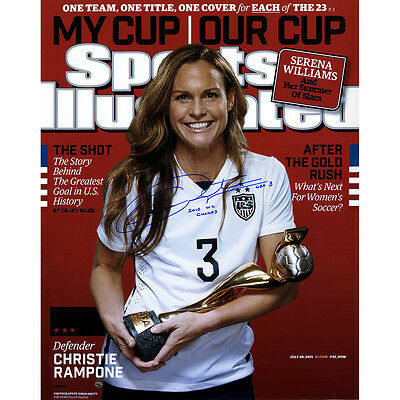 """Christie Rampone Signed 2015 World Cup SI 16x20 Photo w/ """"2015 WC Champs"""" Insc"""