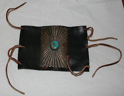 Vintage Mid Century Navajo Ketoh Bow Guard Leather w Sterling and Turquoise