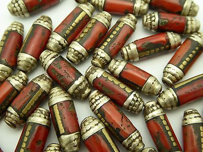 Rare Vintage Natural Red Italian Coral Inlaid Sterling Silver Brass Nepal 1 Bead