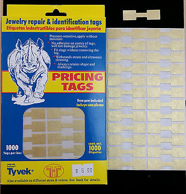 1000 PCS Gold Price Sticker Tags, Jewelry Square Barbell labels Dumbbell tags