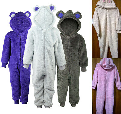 Boys Girls Childrens Snuggle Fleece Hooded Onesie All In One Age 2-13 Years