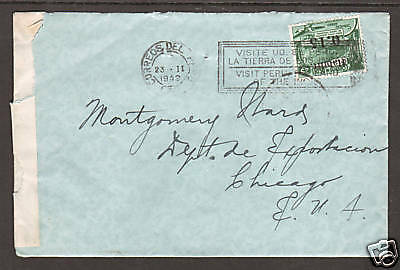 Peru Sc C65 on 1942 Censored Cover to Chicago