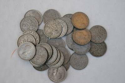 25 Lucky Sixpences Bulk Lot Of Old English Coins