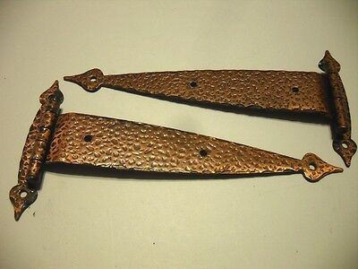 "Vtg T-STRAP Cabinet HINGES Antique Copper Plated Steel 3/8"" Offset Doors Amerock"